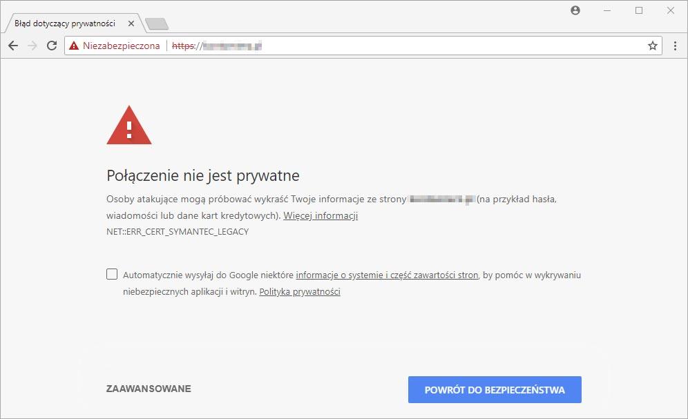 Google Chrome - ostrzeżenie SSL