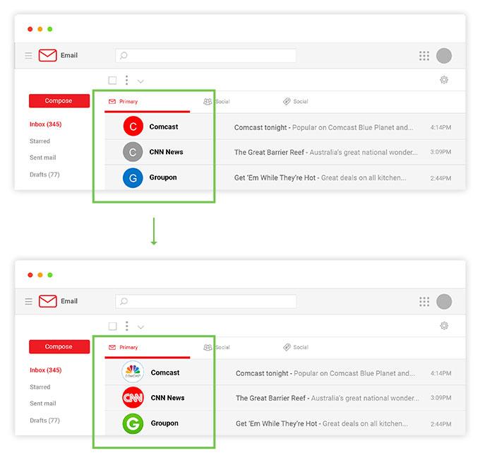 Logotypy w poczcie Gmail
