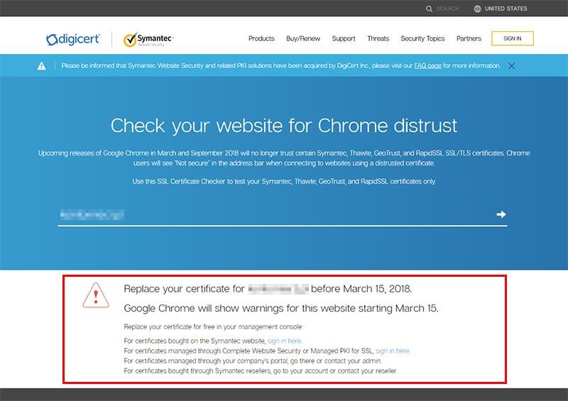 DigiCert SSL Checker - wynik negatywny