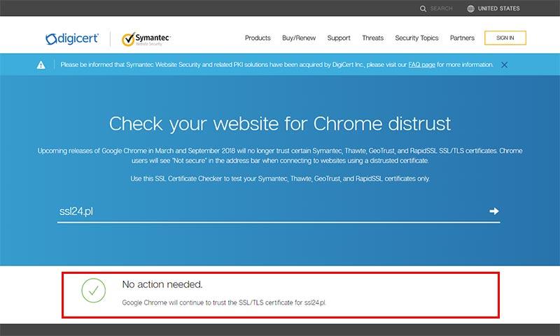 DigiCert SSL Checker - wynik pozytywny