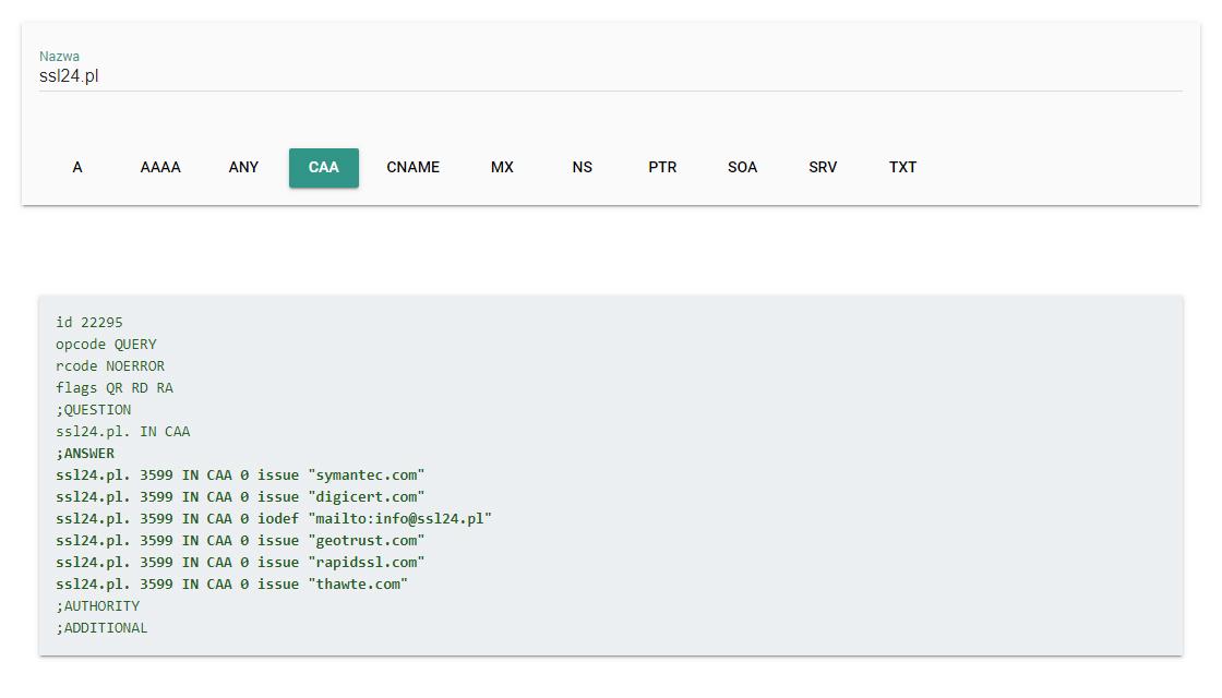 Zawartość rekordu CAA domeny - SSL24