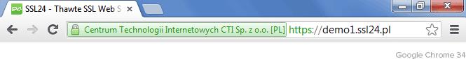 Zielony pasek adresu Google Chrome