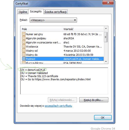 Szczegóły certyfikatu DV Google Chrome
