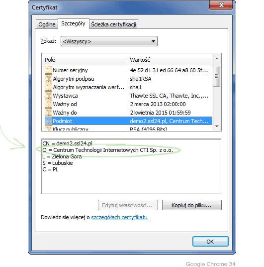 Szczegóły certyfikatu OV Google Chrome