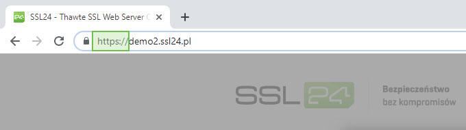 Oznaczenie HTTPS w pasku adresu przeglądarki