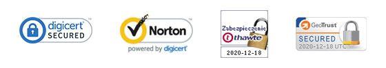 Pieczęci zaufania DigiCert, Norton, Thawte i GeoTrust