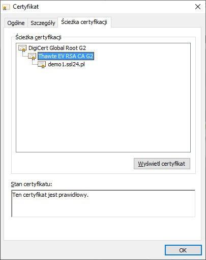 Root EV w szczegółach certyfikatu